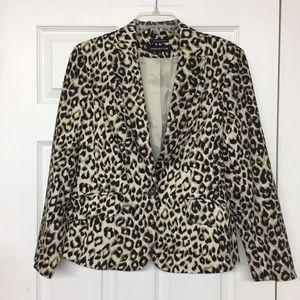 Jones NY stretch leopard animal print blazer